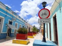 A pedestrian street.